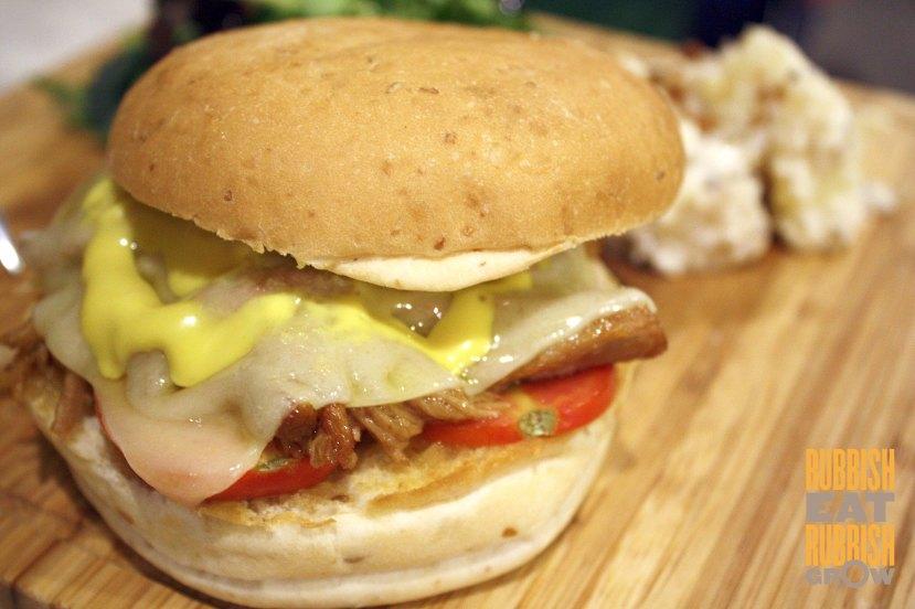 two blur guys - pulled pork burger