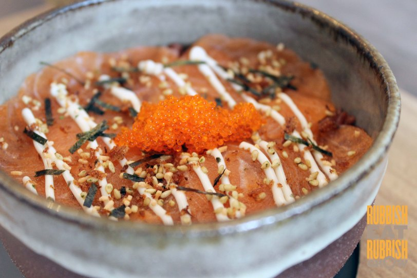 Compliments Of Cafe Singapore - salmon red rice donburi