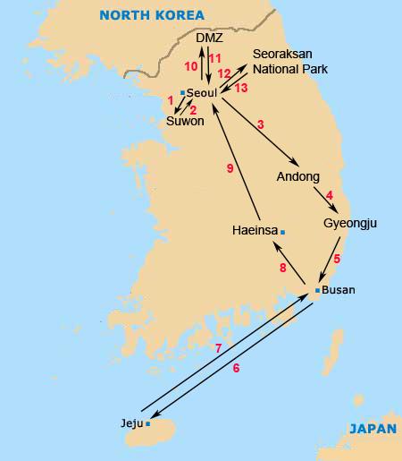 south korea Itinerary map
