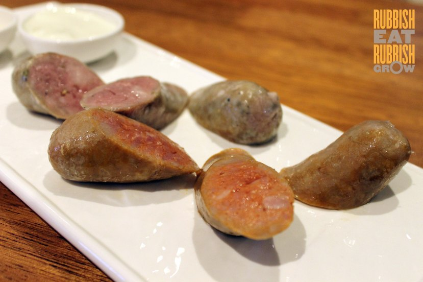 Nuvo Singapore Review - homemade pork sausages