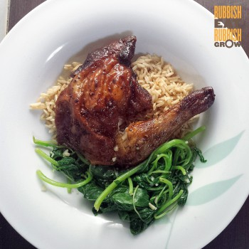 rotisserie chicken, brown rice, spinach