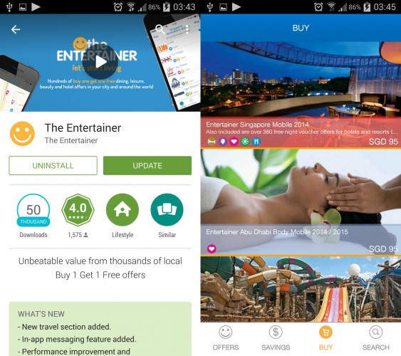 the entertainer app 2015 SG