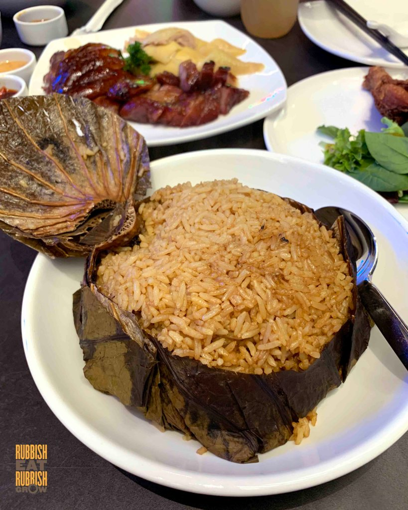 pi food - lotus leaf rice with roasted duck